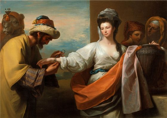 West, Benjamin: Isaac's Servant Tying the Bracelet on Rebecca's Arm. Fine Art Print/Poster (004338)